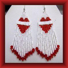 Red Heart Earrings Beaded Chandelier Dangles Sterling Wires. $25.00, via Etsy.