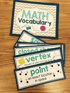 Math Word Wall-Geometry Vocabulary Geometry Vocabulary, Math Vocabulary, Math Resources, Math Activities, Geometry Activities, Math Word Walls, Fifth Grade Math, Math Measurement, Math Words