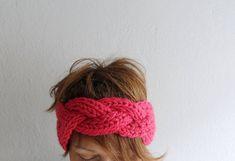 Knitted Headband Oversized Headband Chunky Headband Ear Warmer Fuchsia Womens Fashion