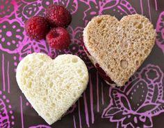 Valentine's Day School Lunch- Raspberry Mascarpone Heart Sammies on Weelicious