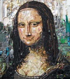 Art Made From Junk THE MONA LISA - DA VINCI. (Photo by Jane Perkins/Caters News)