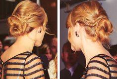 Taylor Swift hair - fishtail around a bun