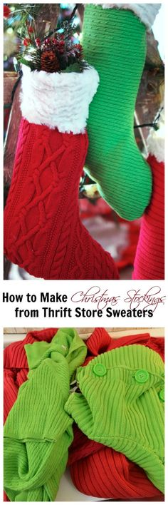 How to Make Christmas Stockings From Old Sweaters – Create and Babble – Taylor Holmes – Thrift Store Crafts Easy Christmas Crafts, Christmas Projects, Simple Christmas, Handmade Christmas, Christmas Decorations, Christmas Stuff, Christmas 2019, Winter Christmas, Christmas Ideas
