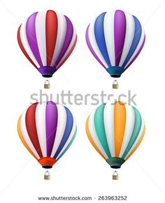 Set of Realistic Colorful Hot Air Balloons Flying as an Elements or Decoration for Summer, Holidays and Greetings. Vector Illustration