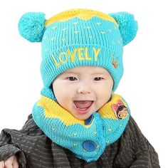 2 Pcs Set Autumn Winter Children Kitted Hat Scarf Plush Ball LOVELY Letter Kid  Beanies · Newborn Hats ... e5b5f5da20e0