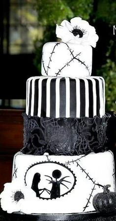 Black and white jack and sally wedding cake
