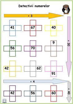 Numerele până la 100 -Detectivii numerelor 3 1st Grade Worksheets, Crossword, Math, Learning, Grade 1, Kids Math, Attendance, Preschool, School