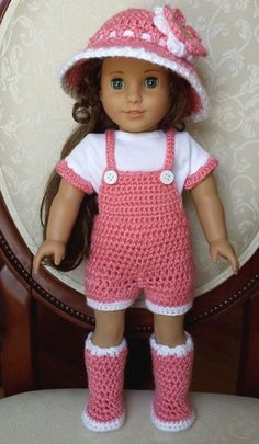"""Crocheted American Girl 18"""" Doll Spring Outfit Clothes Overalls Boots Shirt 5pc Set, No Crochet Pattern Click Visit link to see more CLICK VISIT link above to read more"""