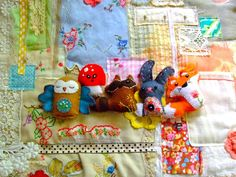 patchwork from vintage linens plus felt animals
