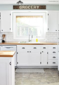 I love this beautiful farmhouse cottage kitchen. Shaker style cabinets, butcher block countertops, and cast iron sink. Everything for a budget! Farmhouse Kitchen Cabinets, Cottage Kitchens, Farmhouse Style Kitchen, Painting Kitchen Cabinets, Kitchen Redo, Home Kitchens, Kitchen Makeovers, Kitchen White, Kitchen Ideas