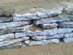 has anyone used recycled concrete for a retaining wall?the homeowner on the house i am on now is using it in a dry stacked method around his backyard. Retaining Wall Patio, Concrete Retaining Walls, Flagstone Path, Concrete Pavers, Concrete Garden, Concrete Wall, Recycled Concrete, Broken Concrete, Garden Projects