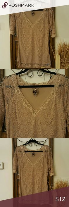 Beige lace form fitting top like Spanx style fit Lovely lace top. Beige, perfect for under a blazer. NWOT Tops Camisoles