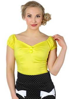 Dolores Yellow Top by Collectif  www.misswindyshop.com   #top #yellow #vintagestyle #gypsytop