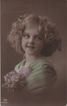 Pink cheeks, adorable girl, blonde curls, pretty child, vintage child, real photo, hand tinted, vintage photo, Edwardian girl  (rppc/ch332)