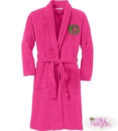 Monogrammed Plush Microfleece Robe In Pink, White or Grey  Apparel & Accessories > Clothing > Sleepwear & Loungewear > Robes