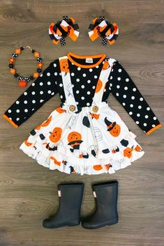 Black Polka Dot Pumpkin Suspender Skirt Set