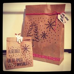 Packaging para un regalo de Amigo Invisible. Low Cost a tope... Mary Christmas, Christmas Time, Xmas, Diy Gifts, Diy Presents, Gifts For Friends, Secret Santa, Little Gifts, Dyi