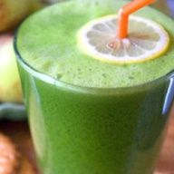 Green Lemonade by thetoddlercafe. as adapted from Natalia Rose, The Raw Food Detox Diet: Made with apple, lemon, Romaine lettuce, kale and ginger. #Green_Lemonade #Raw #thetoddlercafe #Natalia_Rose