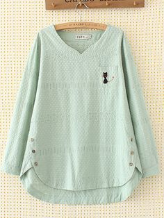 Embroidery Hollow Out V-Neck Cotton Loose Shirt for Women - Newchic Mobile