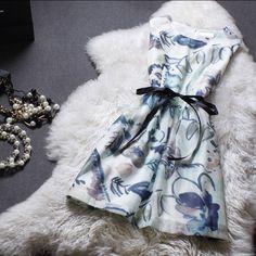Fashion printed sleeveless vest dress #WE32204PO