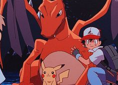 Ash Ketchum with his Pikachu and his Charizard ^_^ ^.^ ♡