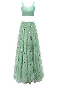Jade green lasercut acrylic motifs lehenga and jacket set available only at Pernia's Pop Up Shop.