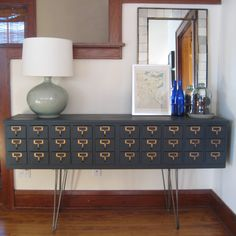 """""""Reader Redesign: Card Catalog"""" -- Before and after photos of this card-catalog-turned-credenza. [Even more photos and how-tos at original post here: http://www.oakland-avenue.blogspot.com/2012/03/diy-card-catalog-credenza.html .]"""