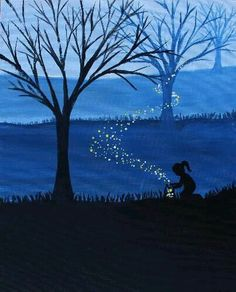 Beginner painting idea, little girl letting the fireflies go among the blue hills and trees.