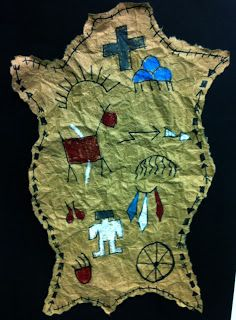 Make native-inspired art on faux animal hides. It all starts with an old paper bag. A great history project!