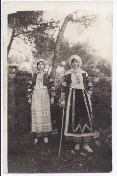 Traditional costumes. Sarakatsanes from Attica region. Greece. Early 20th