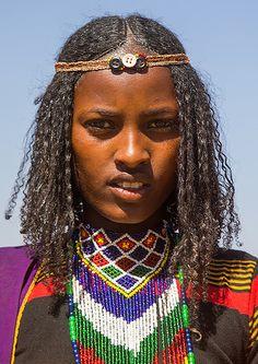 Borana tribe virgin girl during the Gada system ceremony, Oromia, Yabelo, Ethiopia