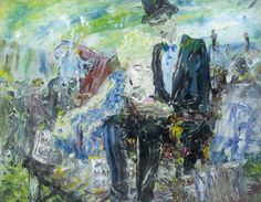 A Giant Reading Jack Butler Yeats (Irish, Oil on canvas. The painting can be connected to Yeats's other paintings of circuses in which he focuses on the performer at rest, caught. Bear Paintings, Original Paintings, Abstract Expressionism, Abstract Art, Blue Teddy Bear, Teddy Bears, Irish Painters, People Reading, Oil On Canvas