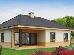Very people sure want to have a backyard in their house, but they feel confused hoe to design it. even though the backyard is aplace . Glass House Design, House Color Palettes, Compact House, Small Outdoor Spaces, Small Backyard Patio, Village Houses, Small House Plans, Design Case, Simple House