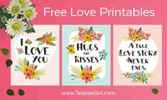 These free printables feature quotes all about love! They are perfect for gallery walls, home decor, and of course, weddings and Valentine's day! Get yours at www.TeepeeGirl.com.