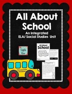 Great print and go unit for teaching Schools long ago and today, school rules, nouns, and biographies.