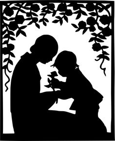 Mother and child silhouette