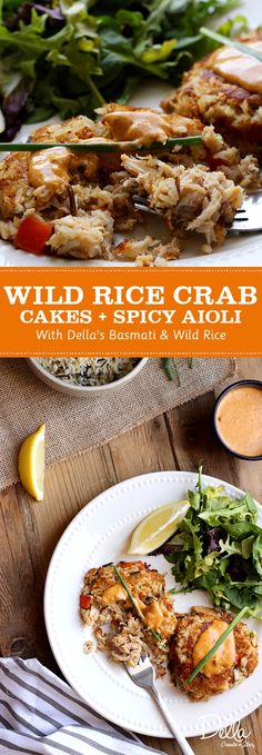 Wild Rice Crab Cakes with Spicy Aioli Sauce Seafood Rice Recipe, Rice Recipes, Seafood Recipes, Healthy Recipes, Aioli Sauce, Remoulade Sauce, Spicy Aioli, Wild Rice, Crab Cakes
