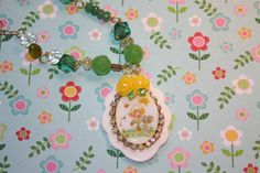 Lemon Meringue  Doll necklace 80s Favorite Strarberry shortcake Pretty shades of Green and Yellow Necklace is Emerlad gemstones