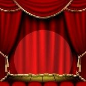 Telon_de_teatro : Theater stage  with red curtain  Foto de archivo