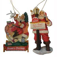 Bas Relief Coca-Cola Ornament Santa Pair