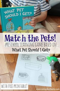 Match the pet with this fun preschool activity featuring the new Dr. Seuss book! Perfect for an animals theme or a family thinking of adopting a pet.