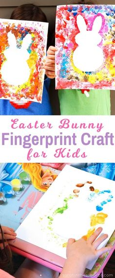 Easter bunnies are so cute and perfect for the spring season! Let your kids make their own Easter bunny fingerprint craft with this easy DIY tutorial. basteln ostern kinder Simple Finger Paint Easter Craft - Sarah in the Suburbs Bunny Crafts, Easter Crafts For Kids, Toddler Crafts, Preschool Crafts, Easter With Kids, Easter Crafts For Preschoolers, Kindergarten Crafts, Crafts With Babies, Easter Activities For Kids