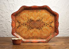 Casafina Acanthus Scalloped Tole Tray 21 x 17,  #Tuscan