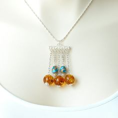 Amber Silver Necklace, Turquoise Silver Wooden Beads, Sterling Silver Necklace, Great Gift by INJIJEWELRY on Etsy