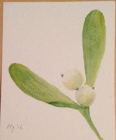 Eerste botanische aquarel naar voorbeeld van Billy showell  9 augustus 2016 9x11 cm