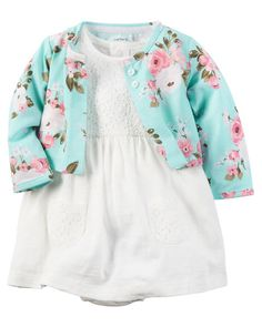 Baby Girl 2-Piece Dress & Cardigan Set from Carters.com. Shop clothing & accessories from a trusted name in kids, toddlers, and baby clothes.