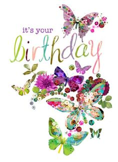 Happy Birthday floral butterfly