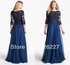 Blue Lace Free Shipping 2013 Chiffon Long Half Sleeves Mother of the Bridal Dress
