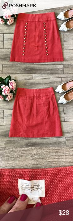 """Anthropologie Cidra A-Line Button Skirt This skirt is a dream in person.  It's fully lined with a flattering A-line shape.  Size Zip. Real life color closest to 4th photo.   Approx measures/taken flat: Waist: 13.75"""" Hips: 17.5"""" Length: 19"""" Materials: 100% Cotton (Acetate lining)  Bundle for best pricing and one shipping fee! Anthropologie Skirts A-Line or Full"""