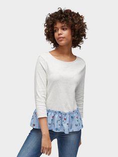 Tom Tailor Denim 3/4-Arm-Shirt »Bluse im Material-Mix« für 29,99€. Bluse im Material-Mix, Aus reiner Baumwolle, Unifarben und Underlayer gemustert bei OTTO